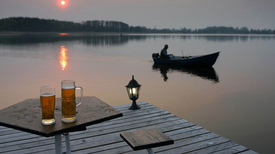 Photography nature-lake-beer-sunset-pier-boat-fishing wallpaper