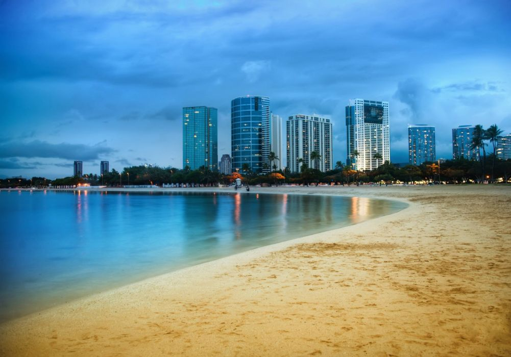 Cityscapes beach sky wallpaper