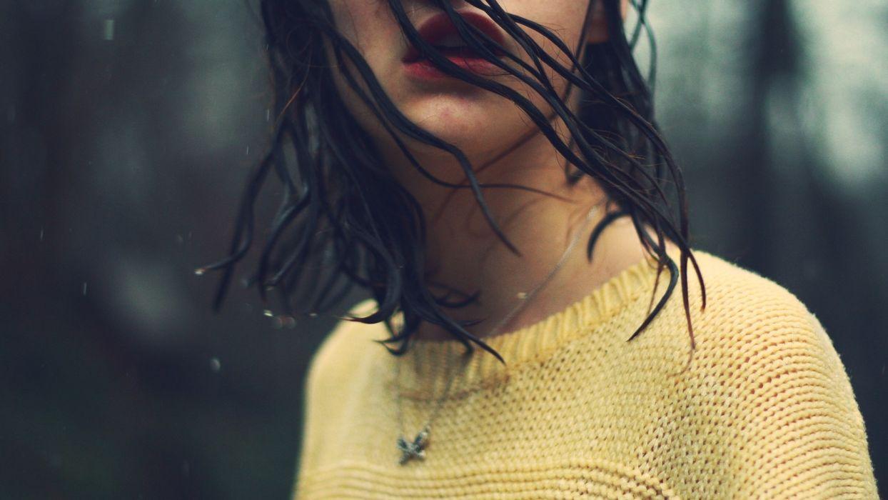 mood girl brunette hair wet rain water wallpaper