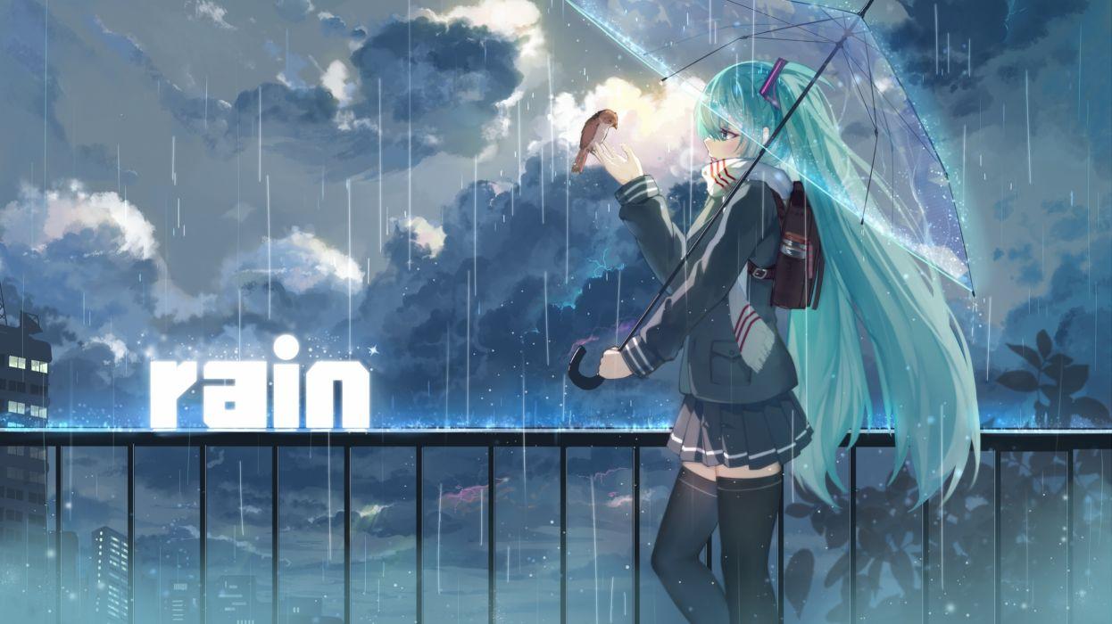 haraguro you vocaloid hatsune miku girl umbrella rain wallpaper