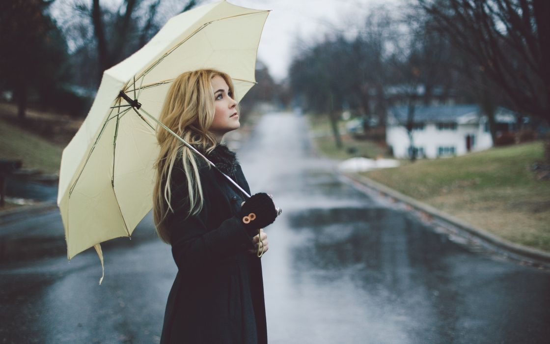 girl blonde umbrella street rain raincoat mood wallpaper