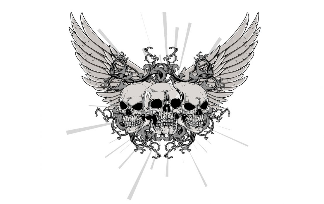 Winged Skulls White wallpaper