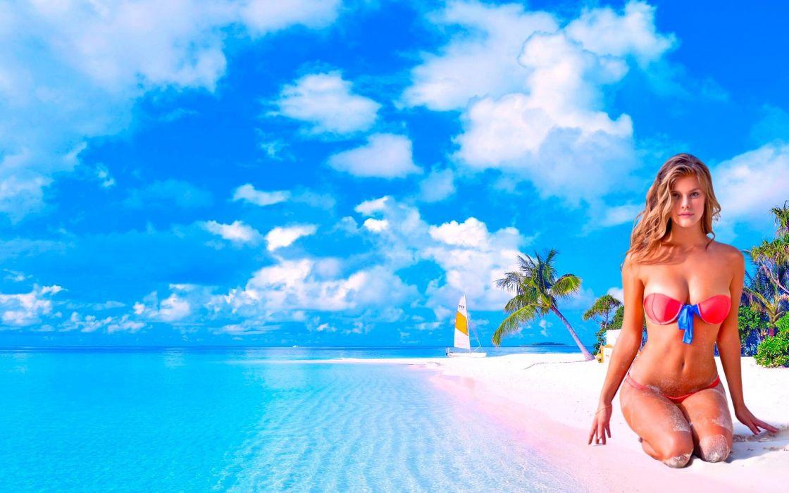mujer playa bikini rubia wallpaper