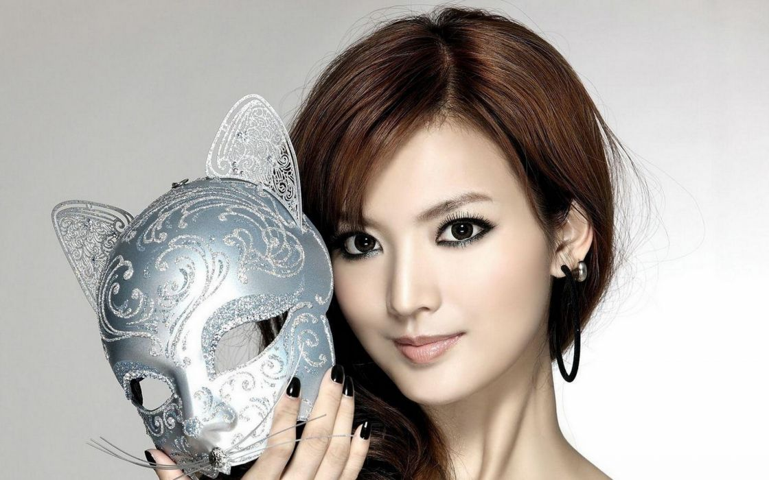 bella asiatica mujer mascara wallpaper