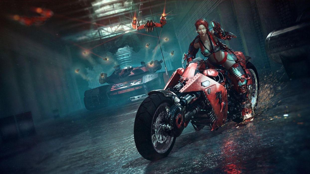 Arts bike-girl-tank-spark wallpaper