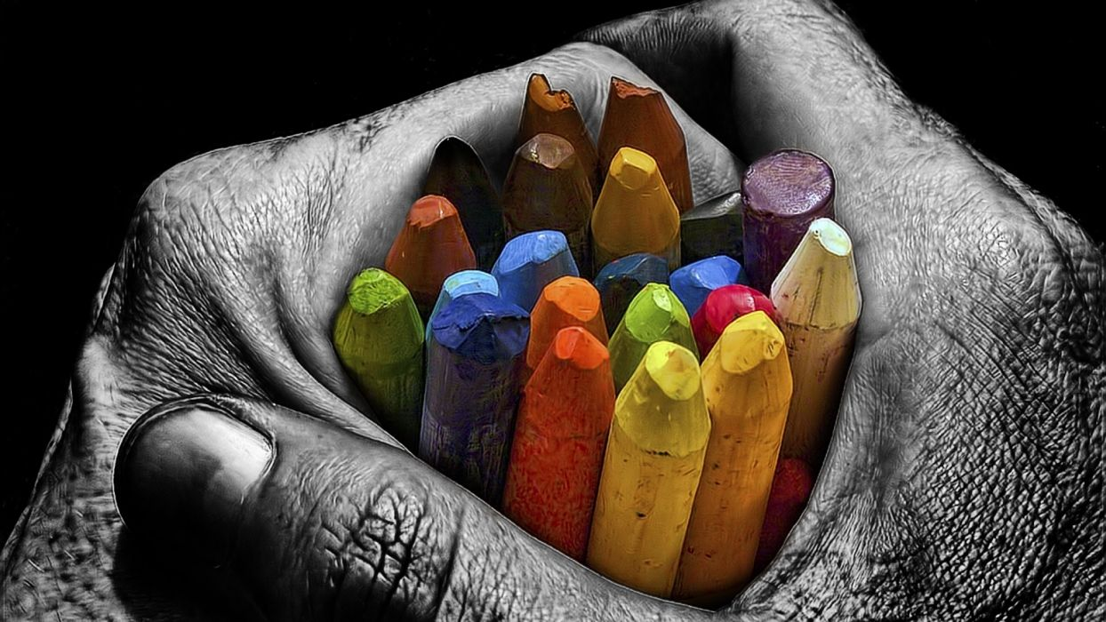 Arts Chalk Crayons Colored Colorful Hands Palms Wallpaper