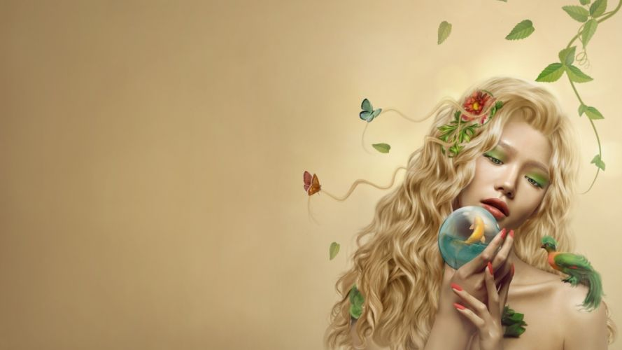 Arts woman-girl-mysterious-leaves-parrots-dryad wallpaper