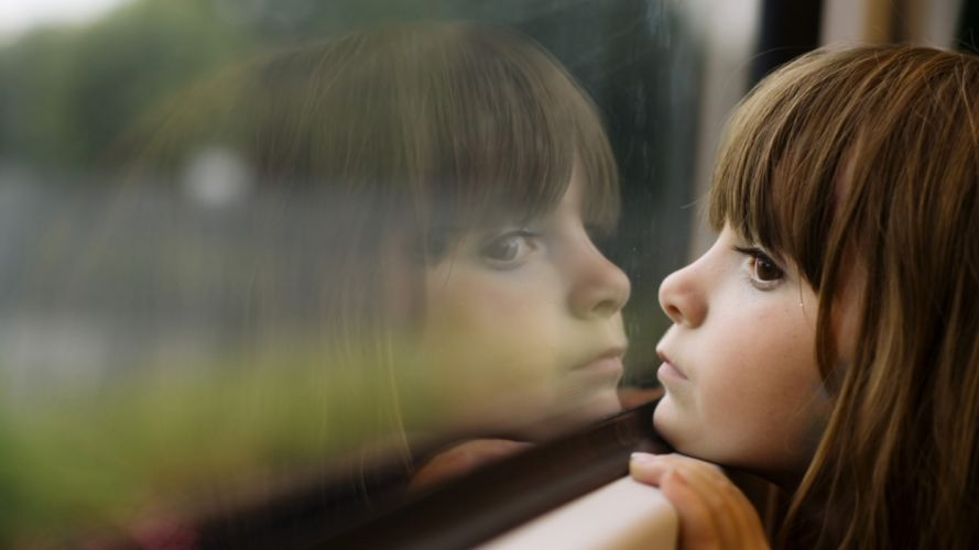 Face kid-girl-sad-brown-window-glass wallpaper