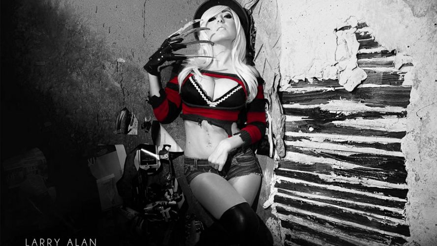 Photography woman-girl-sexy-blond-Jessica Nigri-cosplayers-coloring-nightmare-street-freddy-krueger-cleavage-jean-shorts-ripped-gloves-blade wallpaper