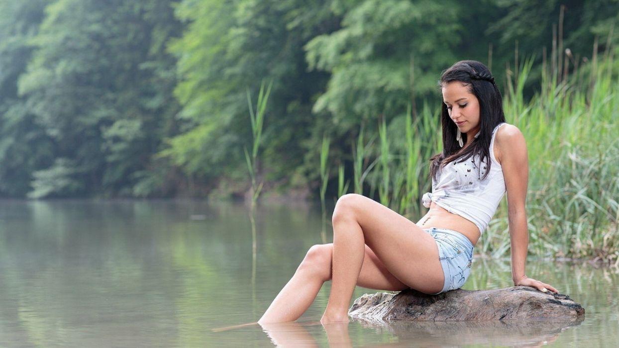 Sensuality woman-girl-sexy-sensual-legs-shorts-jeans-lake-nature wallpaper