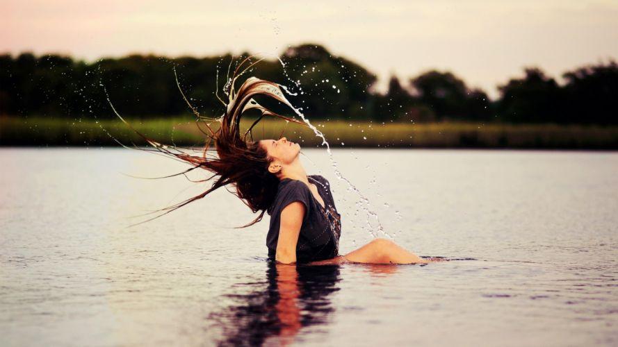 Sensuality woman-girl-sexy-sensual-river-hair-spray-mood wallpaper