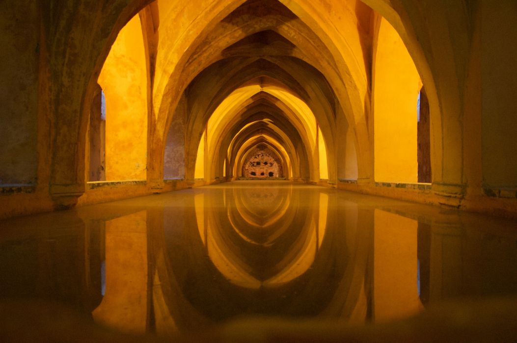 abbey ancient andalusia arch arches architecture art building cathedral cellar church city gothic historic indoors landmark light monastery palace pool reflection religion religious shadow shiny travel tunnel wallpaper