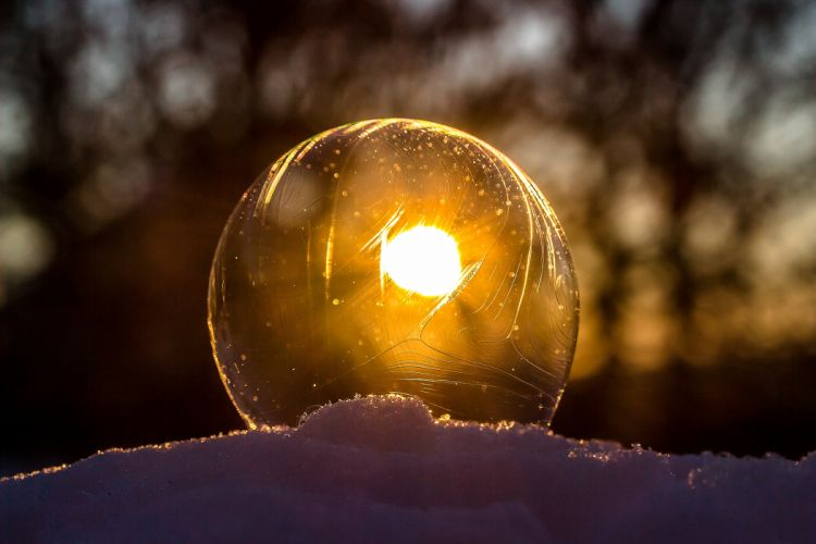 abstract art ball blur bright clear close-up cold dark flame glisten gold ice landscape light luminescence moon reflection round shining snow soap bubble sparkle sphere sun sunbeam sunset transparent winter wallpaper