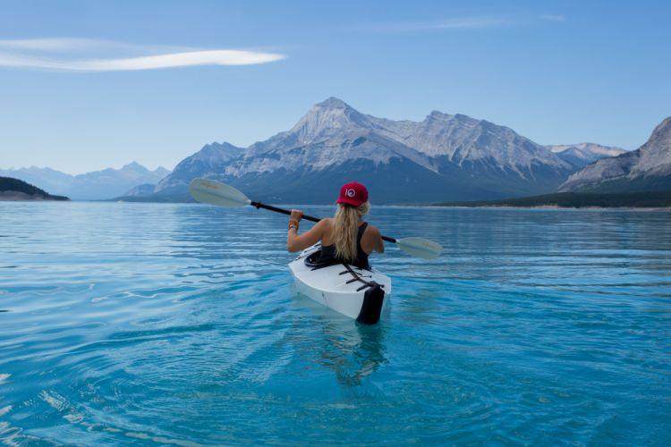 adventure canoe kayak lake mountains nature sky water woman wallpaper