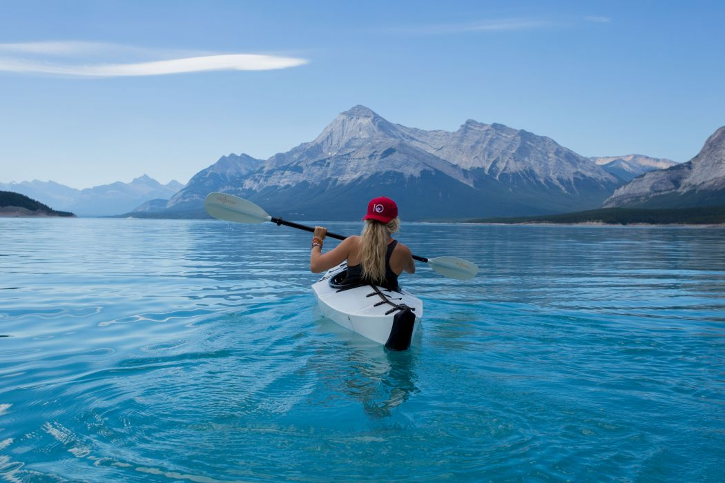 adventure canoe kayak lake mountains nature sky water woman wallpaper