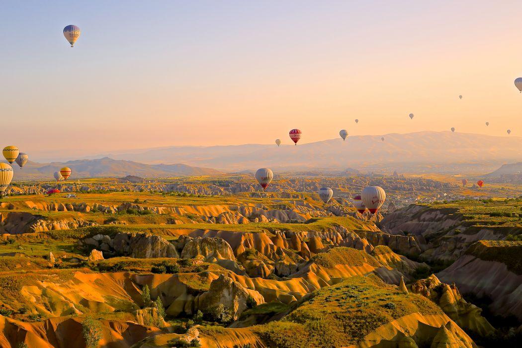 adventure aerial anatolia aviation cappadocia desktop backgrounds desktop wallpaper freedom geology hot-air balloons landscape scenery turkey wallpaper