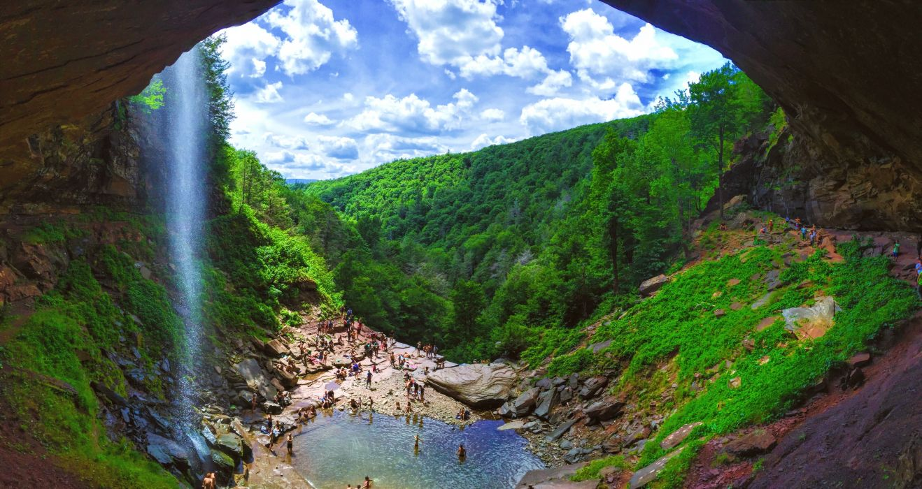 adventure canyon daylight environment foliage landscape mountain nature outdoors people river rocks scenic sky stream summer swim travel trees valley water waterfall wet wood wallpaper