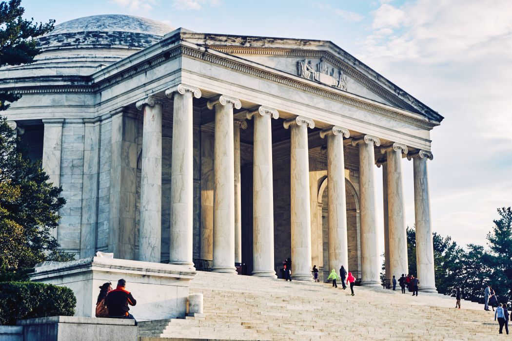 administration architecture building capital city column daylight government jefferson memorial landmark law monument museum neoclassical outdoors people pillars sculpture stairs tourism tower travel wallpaper