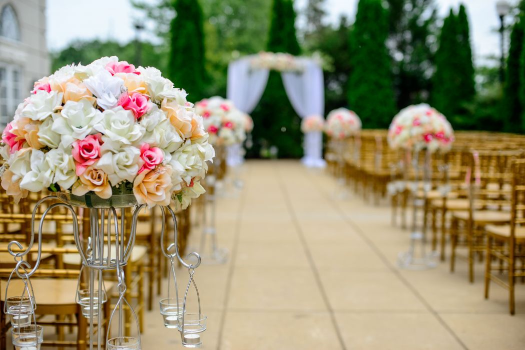 aisle bloom blossom bouquet celebration chairs decoration event flora flower arrangement flowers roses wedding wallpaper