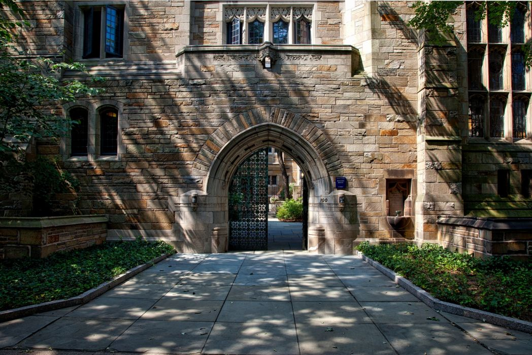 ancient arch architecture brick brick wall buildings campus city colleges entrance famous garden historic house landmark landscape outdoors pavement road schools stone street town travel trees urban windows yale university wallpaper