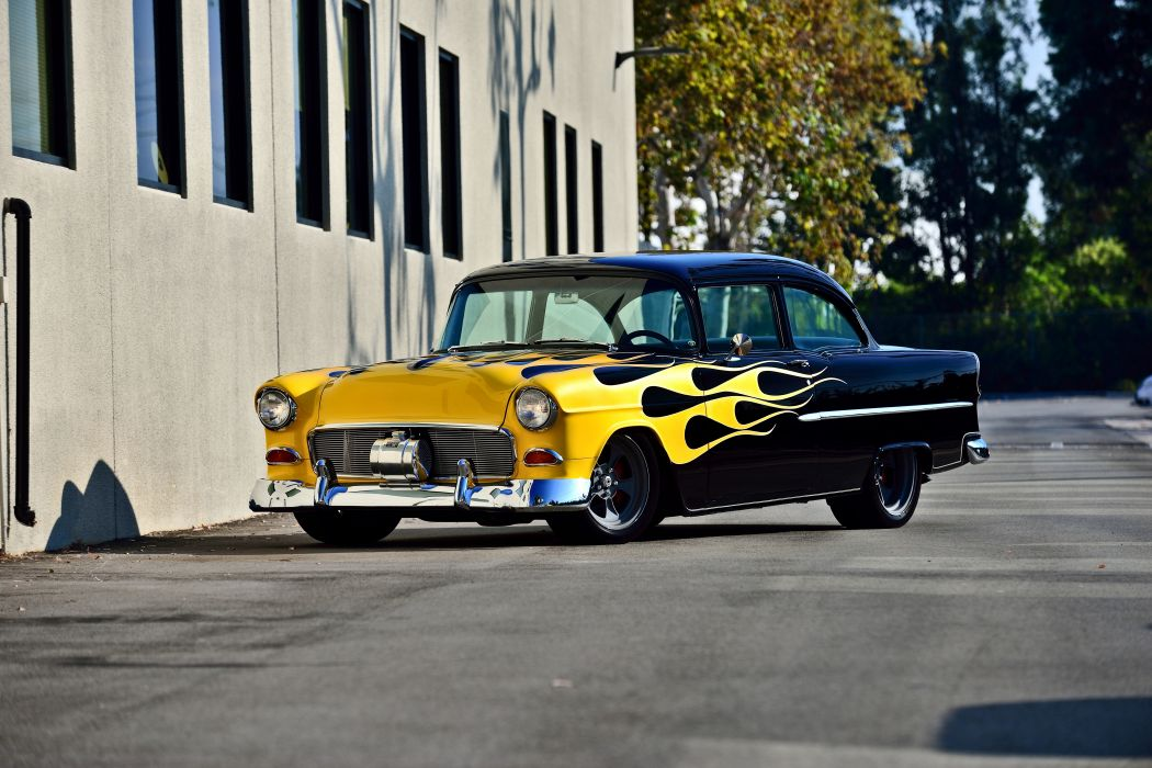 1955 Chevrolet Chevy Bel Air Bellar 210 Coupe Pro Touring Super Street Cruiser Rodder Rod Hot USA -01 wallpaper