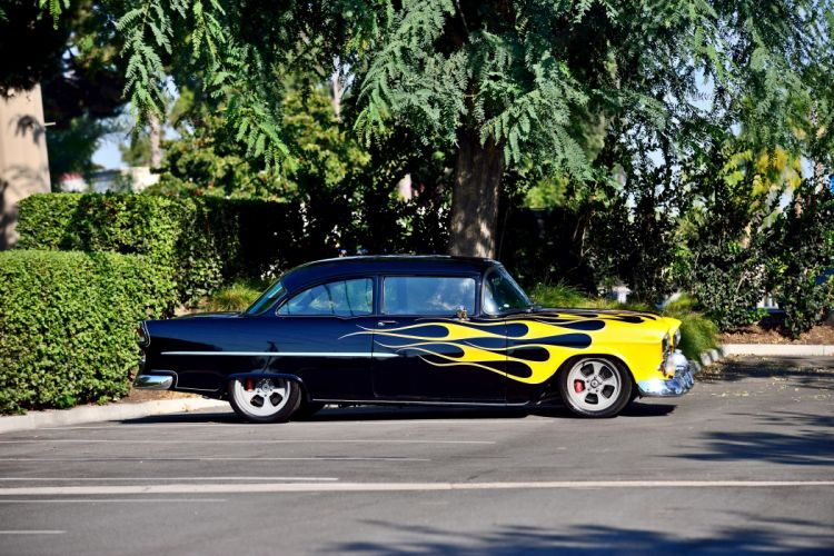 1955 Chevrolet Chevy Bel Air Bellar 210 Coupe Pro Touring Super Street Cruiser Rodder Rod Hot USA -02 wallpaper