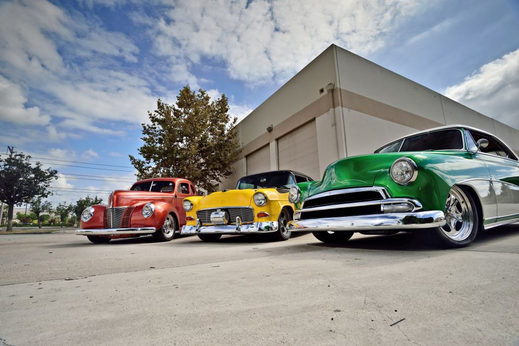 1940 Ford Coupe 1951 Chevrolet Chevy Coupe 1955 Street Rod Rodder Cruiser Hot USA -06 wallpaper