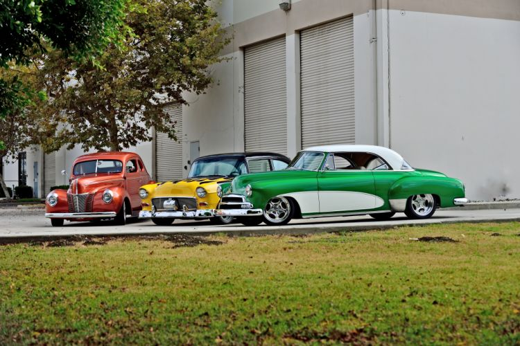 1940 Ford Coupe 1951 Chevrolet Chevy Coupe 1955 Street Rod Rodder Cruiser Hot USA -04 wallpaper