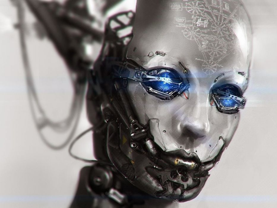 Face-arts-robot-eyes-blue wallpaper