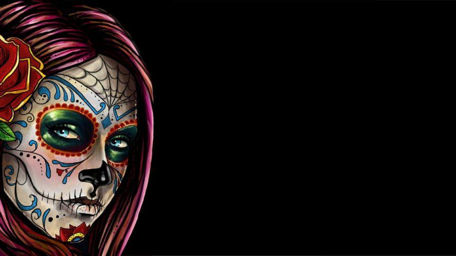 Face woman-girl-sugar-skull-makeup wallpaper