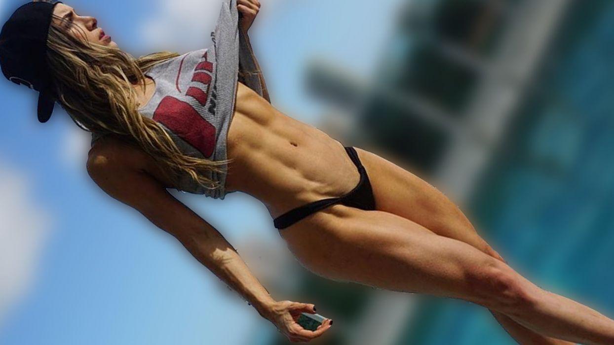 Sport woman-girl-sexy-sensuality-sensual-fitness-Anllela Sagra-belly-tummy-navel-abs wallpaper