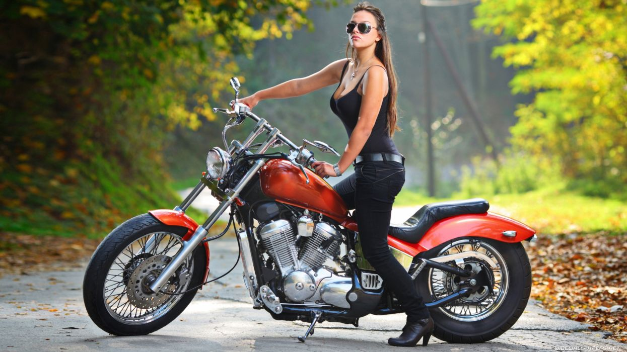 Women & Machines girl-sexy-sensual-model-bikini-motorcycle-bike-sunglass wallpaper