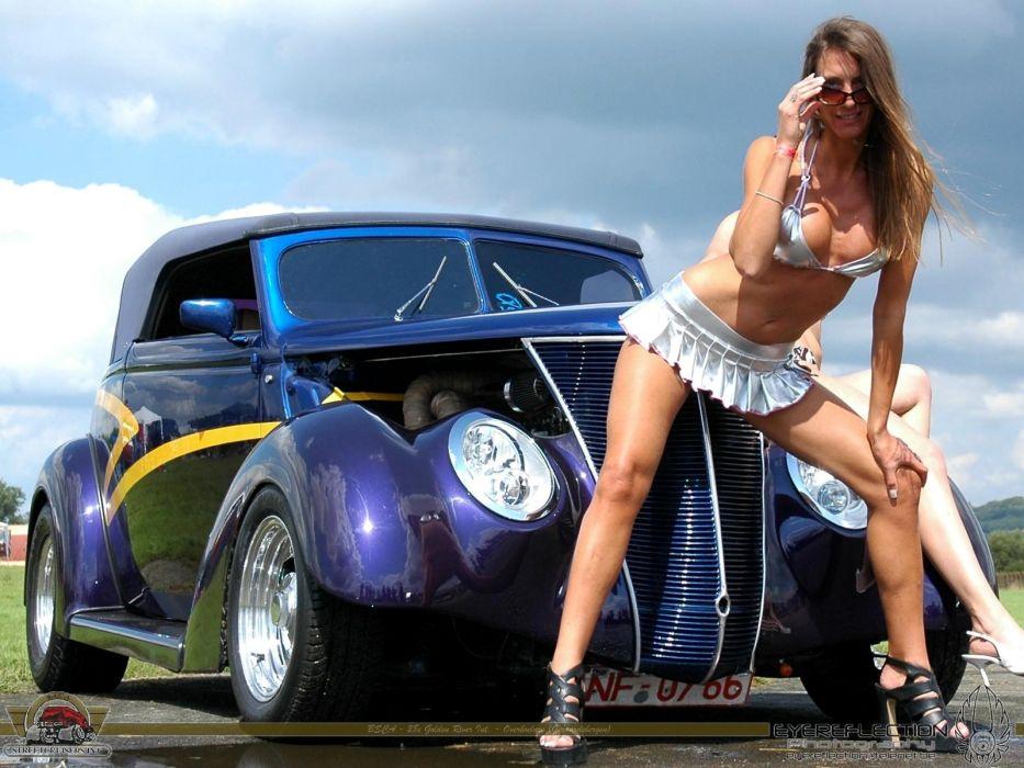 Women & Machines girl-sexy-sensual-model-skirt-ford-streetrod-legs-sunglass wallpaper