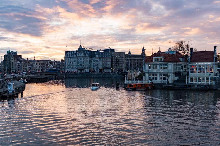 architecture boat bridge buildings canal city harbor outdoors reflection river sunset tourism town transportation system travel water watercraft waterfront wallpaper