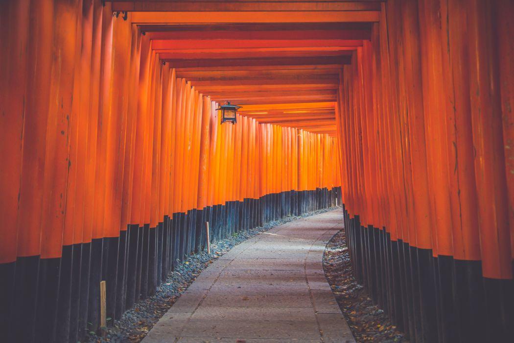 architecture art bright color famous Fushimi Inari-taisha japanese culture kyoto japan landmark lantern light outdoors passage path pathway wood wallpaper