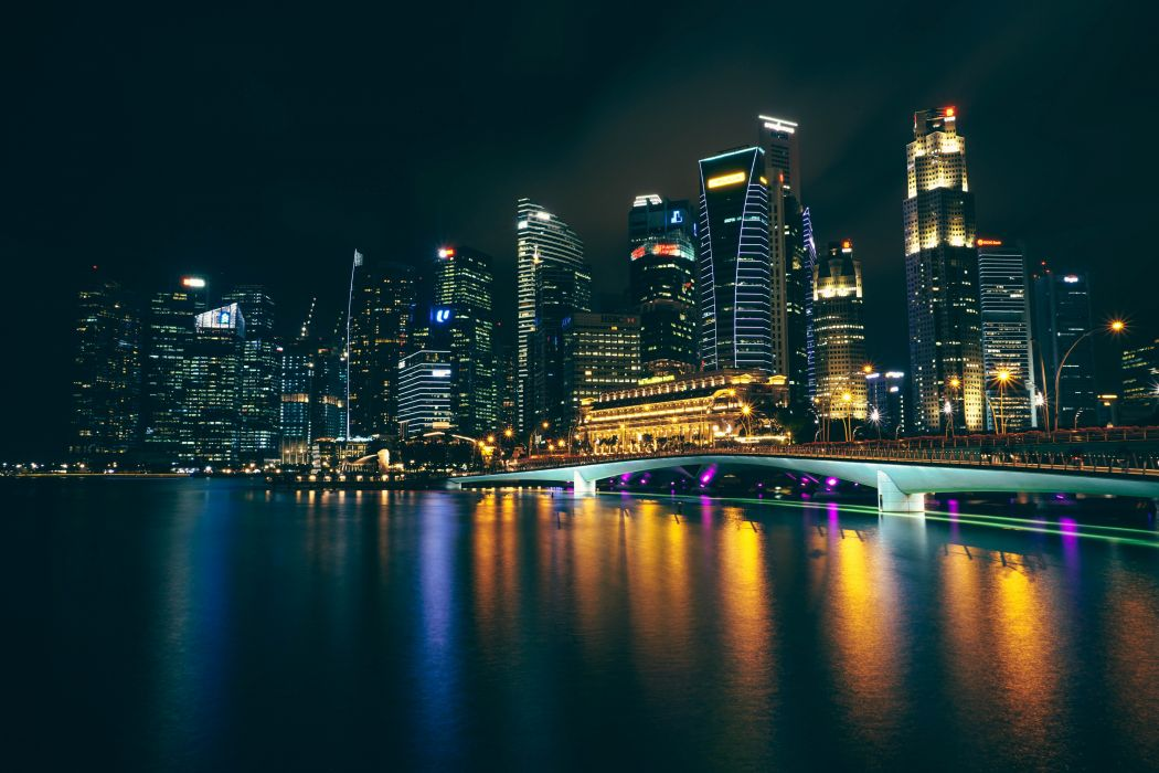 architecture asia attraction bay bridge buildings city cityscape downtown evening harbor harbour illuminated landmark lights marina metropolis night outdoors river riverside singapore skyline skyscrapers urban water waterfront wallpaper