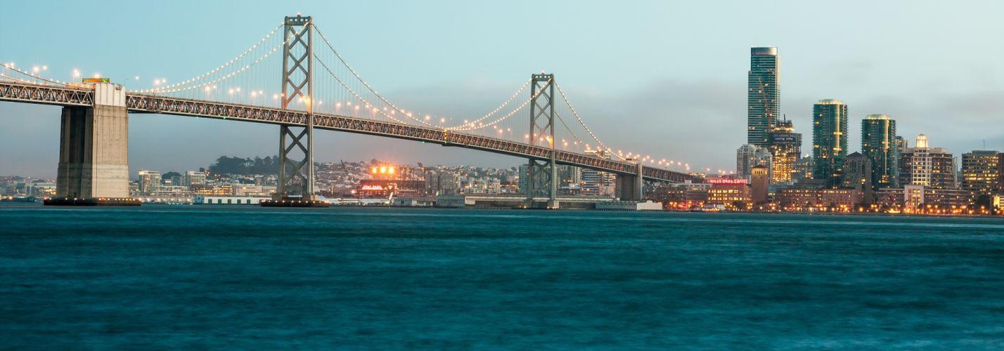 architecture bridge buildings city cityscape landmark lights river sky water wallpaper