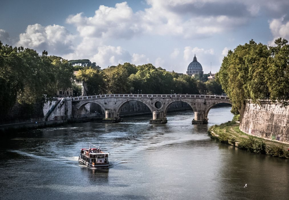 architecture boat bridge building canal church city clouds cupola daylight landmark landscape outdoors plants river rome scenic sky tourism town travel trees water watercraft wallpaper