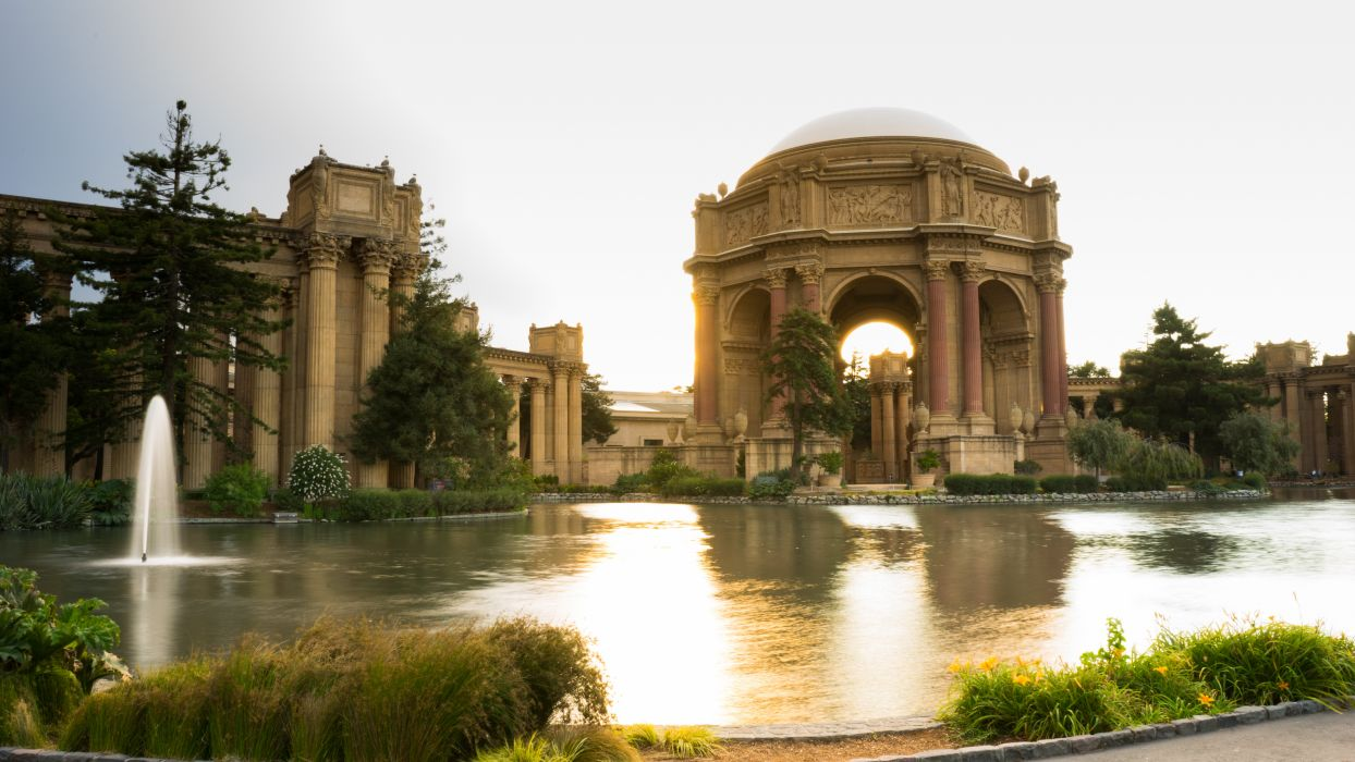 architecture building fountain landmark Palace of Fine Arts plants pond san francisco trees water wallpaper
