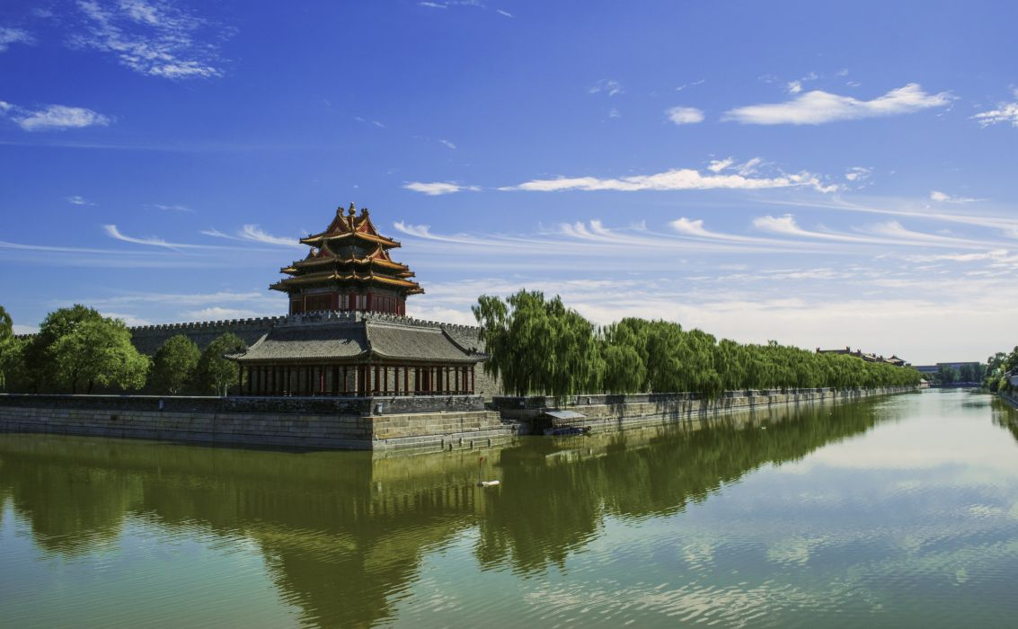 architecture Asian building castle chna daylight forbidden city historical lake landmark landscape marquee museum outdoors pool reflection river stonewalls summer tourist destination travel trees water wallpaper