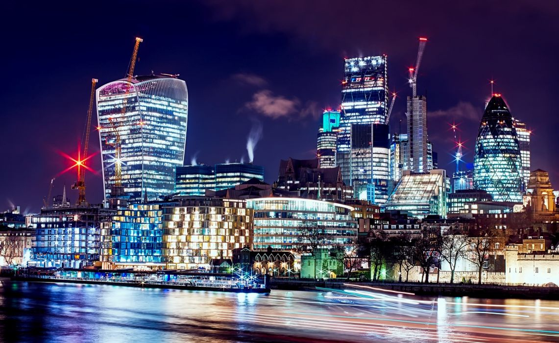 architecture buildings business city city lights cityscape contemporary downtown dusk evening facade finance glass hdr high illuminated landmark lights modern night offices reflections river skyline wallpaper