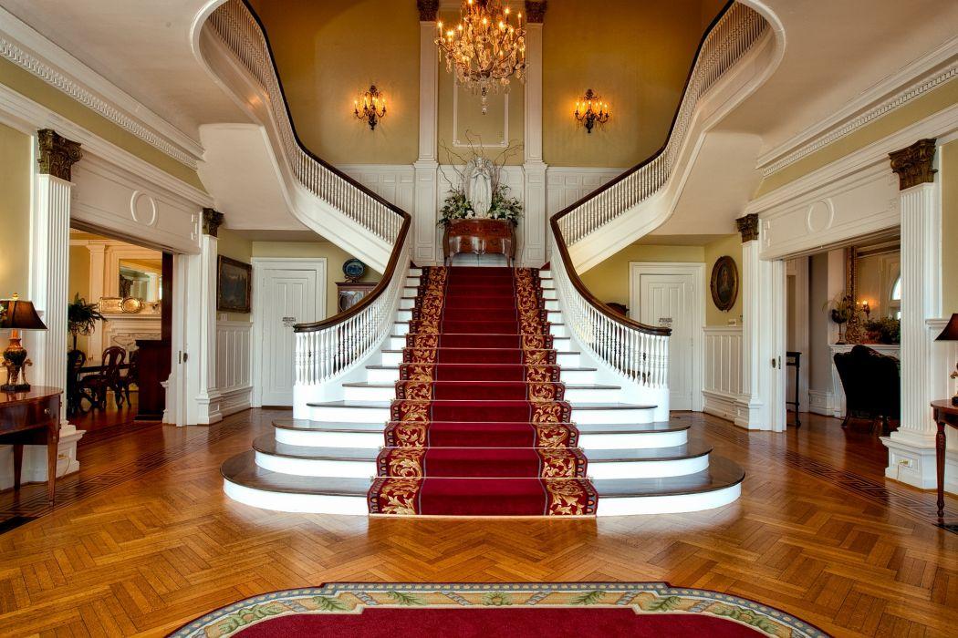 architecture chandelier elegant furniture indoors interior design stairs wallpaper