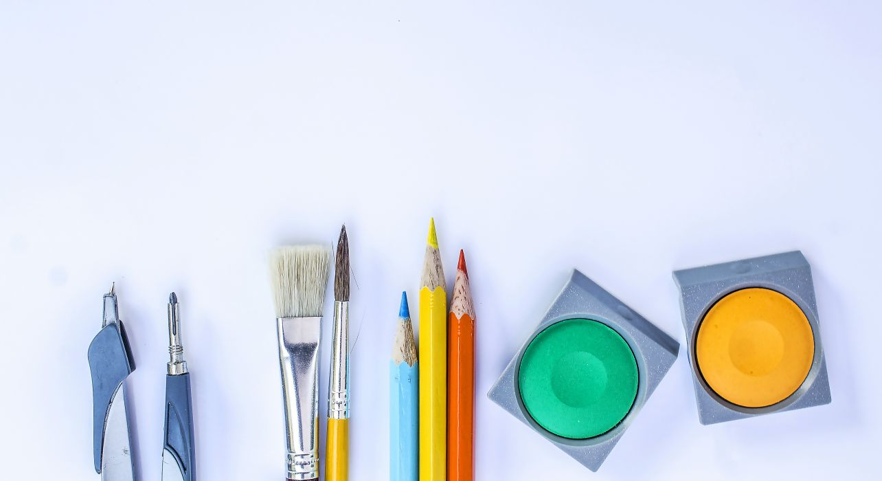 art materials arts and crafts bright brush colored pencils colors colours compass object paint paintbrush palette shapes white wallpaper