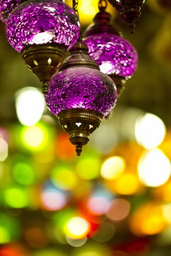 art blur bokeh bright bulb chandelier close-up color decoration design fancy glass glisten hanging illuminated lantern light lighting equipment luminescence purple round shining style wallpaper