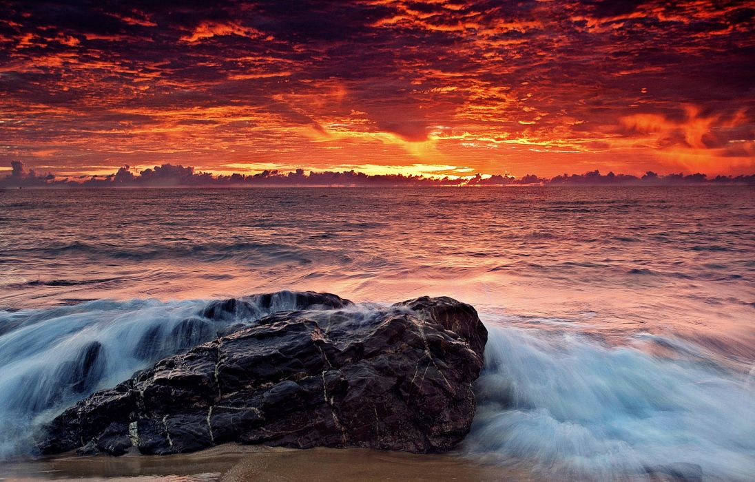 beach beautiful beauty clouds dawn dusk life nature ocean photography rock sea sky stone sunrise sunset water wave wallpaper