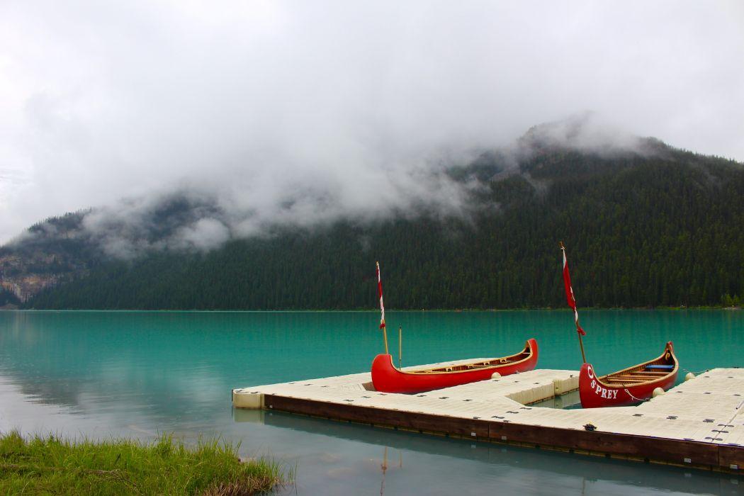 bay boats canoes daylight dock fog forest grass island lake mist nature ocean outdoors scenic sea seashore travel water watercraft wallpaper