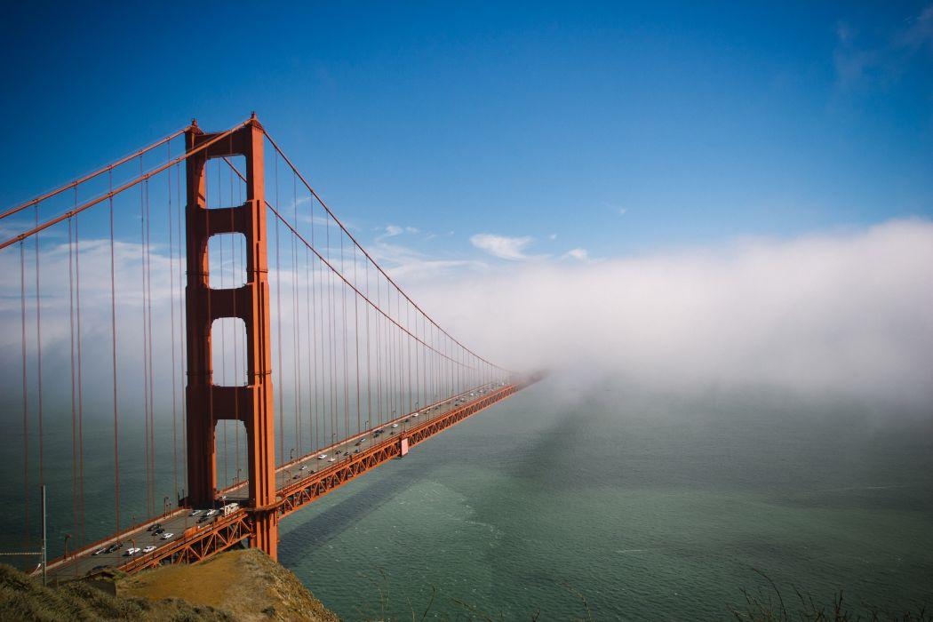 beach blue bridge cars city clouds dawn dusk evening fog foggy golden gate golden gate bridge landmark landscape light marin county ocean outdoors red wallpaper
