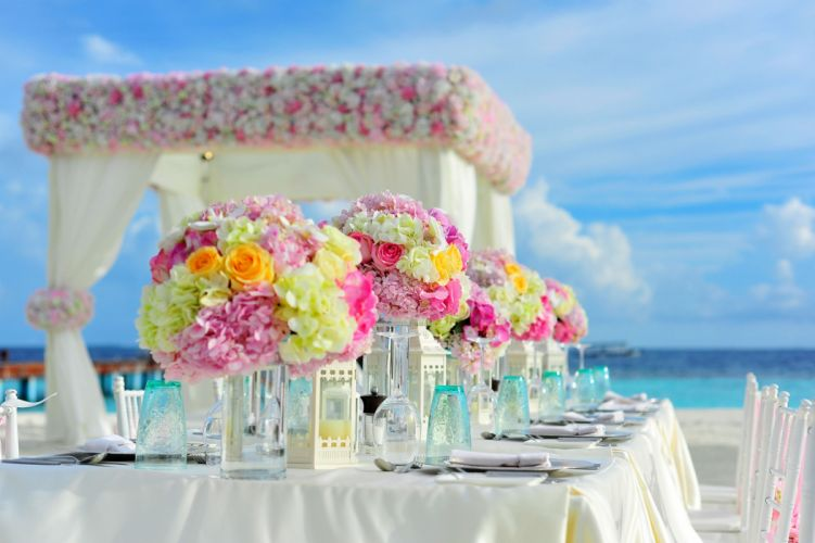 beach bunch of flowers celebration chairs colorful colourful decorations event flowers hotel island sea summer table table set-up tropical water wedding Wedding Setup wallpaper