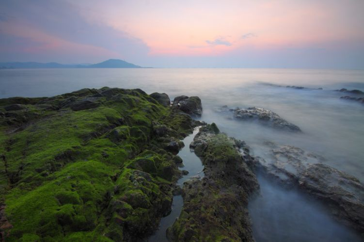 beach dawn dusk fog island landscape mist Mossy rocks mountain nature ocean outdoors river rock scenic sea seascape seashore sky sunset travel water wallpaper