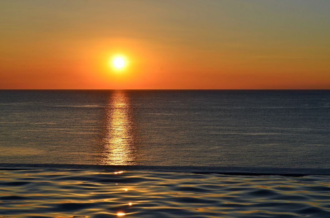 beach dawn dusk glow horizon landscape light ocean reflection sea seascape sky summer sun sunrise sunset water wallpaper